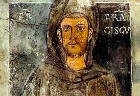 Najstarsze przedstawienie świętego z Sacro Speco w Subiaco (XIII wiek) (fot. Parzi / Wikipedia Commons)