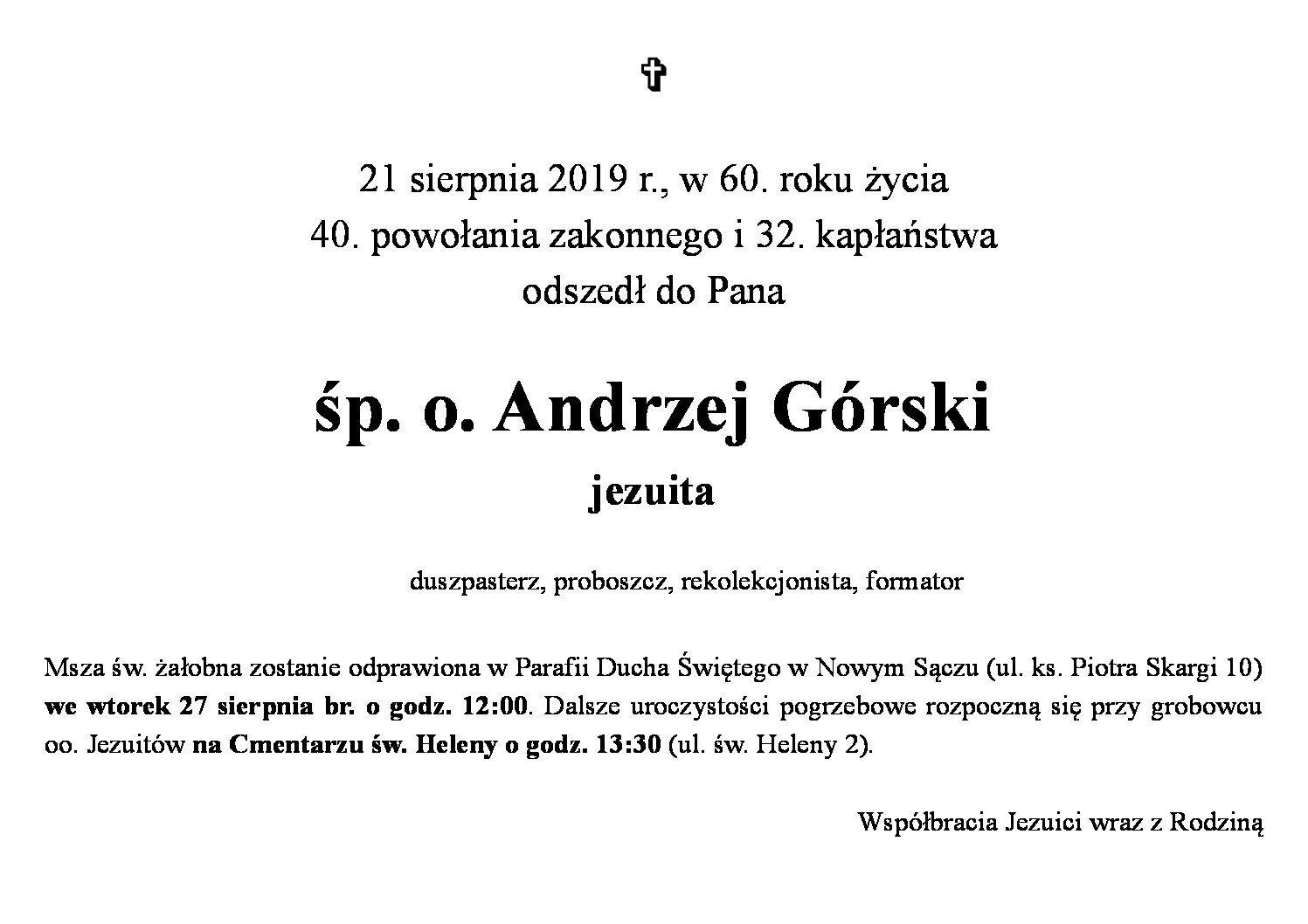 Zmarł o. Andrzej Górski SJ